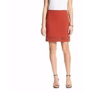 Banana Republic Orange Laser-Cut Mini Skirt